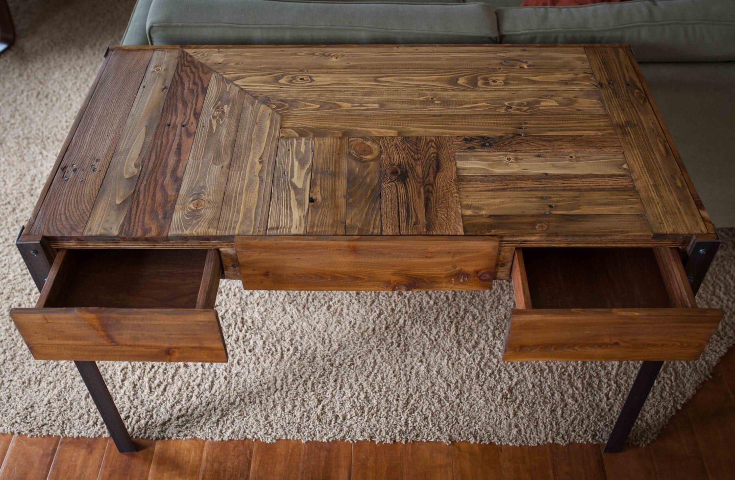 Pallet Wood Desk With Metal Legs And Two Drawers Etsy