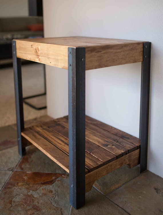 Pallet Wood Side Table With Metal Legs And Lower Shelf Etsy