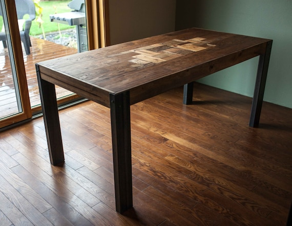 Pallet Wood Dining Table With Metal Legs Etsy