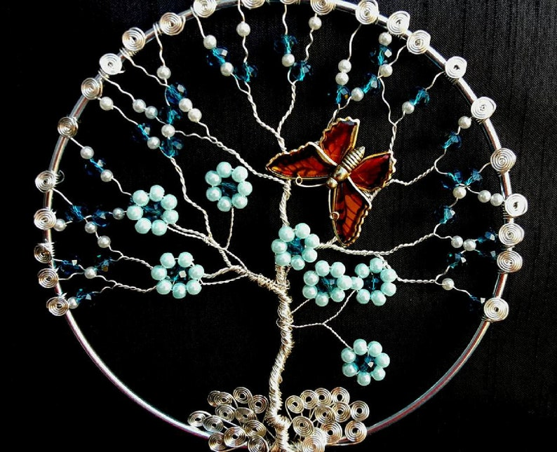Wire Wrapped Blue Floral and Butterfly Tree of Life Sun Catcher