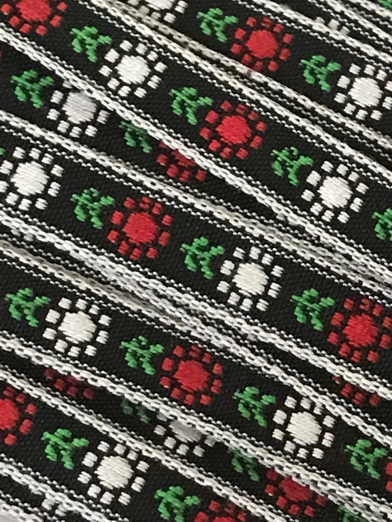 7/16 Red White Green Floral Trim by the Yard image 0