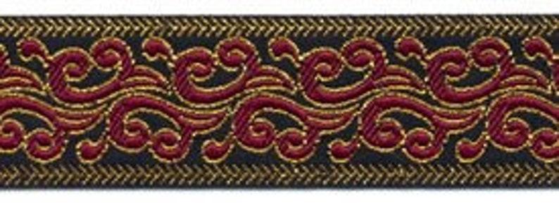 10 Yard Lot  1 Black Red Gold Fabric Sewing Trim  image 0