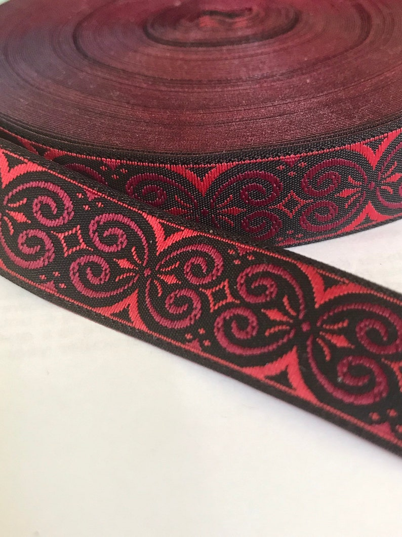 10 Yard Lot  5/8 Black Red Wine Sewing Trim image 0