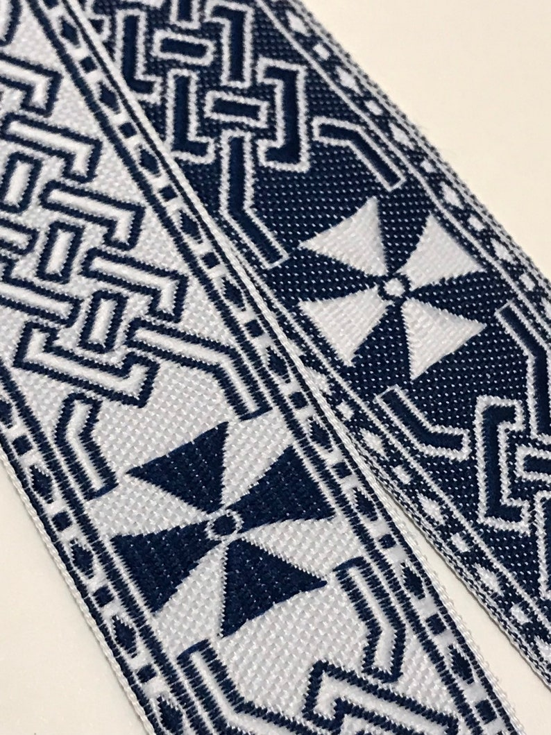 Celtic Cross Blue White Fabric Trim by the Yard 1 image 0