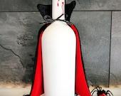 Upcycled Halloween Dracula Vampire Wine Bottle Decor w/ Velvet Cape & Bite Marks