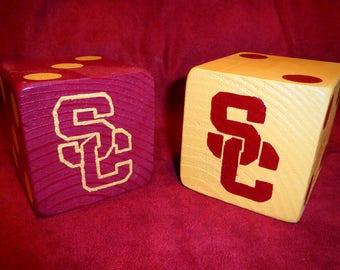 "Jumbo 3.5"" Red & Gold USC Trojans Lawn Yard DICE - Yahtzee, Yardzee, Bunco, Home Decor"