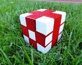Wood Yardzee Jumbo Red White Checkerboard Geometric Giant Lawn Yard Wood DICE Yahtzee, Bunco, Farkle, Home Decor
