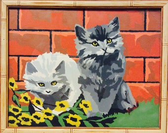 Vintage Paint by Number Painting Picture Kitten Cat Gray Rust Green Framed