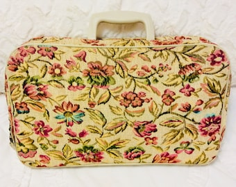 Mod Flower 1960s Small Suitcase or Train Case Cream White Pink Green Luggage Carry On Storage Case