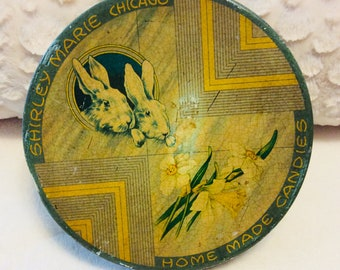 Antique Art Deco Candy Tin Box By Shirley Marie Candy of Chicago Rabbit Bunny Daffodil 1930s Advertising