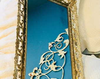 "Vintage Gold Mirror Tray Footed Large Floral Rose and Feather Filigree Dresser Vanity Tray 15"" Gold Plated"