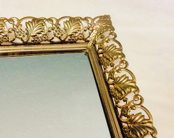 "Vintage Gold Mirror Tray Footed Fern Leaf Filigree Dresser Vanity Tray 13"" Gold Plated"