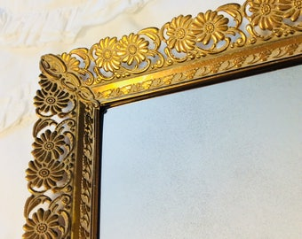 "Vintage Gold Mirror Tray Footed Large Floral Daisy and Scroll Filigree Dresser Vanity Tray 15"" Gold Plated"