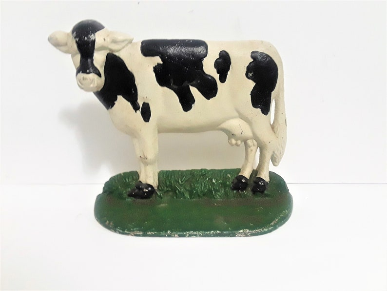 Superbe Vintage 1950 Cow Cast Iron Door Stopper