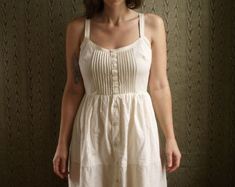 Button front pin tucked Organic cotton eyelet slip underdress- made to your measurements