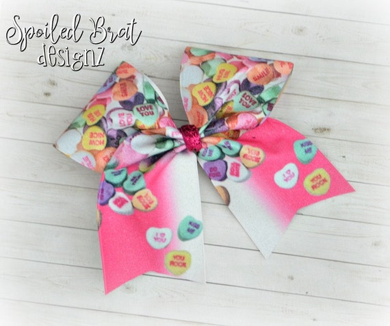 READY TO SHIP Cheerleader White Glitter Vinyl Conversation Hearts Valentines Day Glitter Sublimated Cheer Bow,Girly Hairbows Donuts