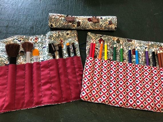 Pencil Roll Up Holder Case Woodland Forest Animals Deer Squirrel Hedgehog Birds Handmade Holds 20 Colored Pencils Overstock Sale