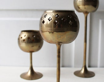 Brass Candle Holder Set of 3 - Votive or Tealight Candle Holder - Boho Eclectic Home Decor - Made in India - Candle Centerpiece