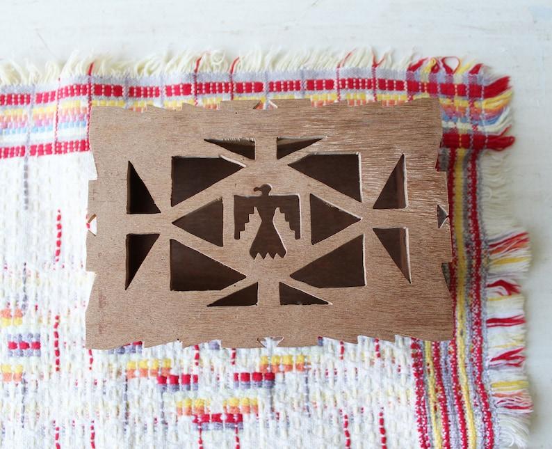 Vintage Southwestern Jewelry Box Phoenix Cutout Design Wood Trinket Box