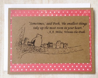 The Smallest Things - Winnie the Pooh Quote - Classic Pooh and Honey Note Card Pink Dot Border
