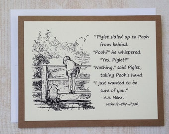 Sure of You - Winnie the Pooh Quote - Classic Piglet and Pooh Note Card Cream On Kraft Brown