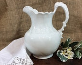 Antique Ironstone Water Pitcher C. 1896-1928 Vodrey Pottery Co. East Liverpool, Ohio