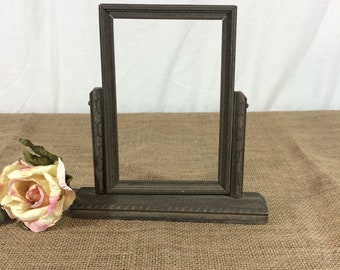 Antiques Antique Picture Frame In Stand Swing Arm Bw Photo Male Ranger Royal Mounted ?