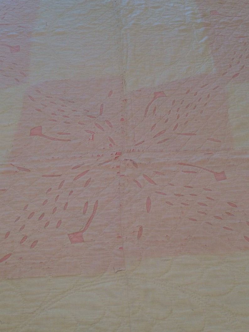 Vintage Pink and White Cutter Quilt Early 1900/'s Hand Quilted and Appliqued Quilt