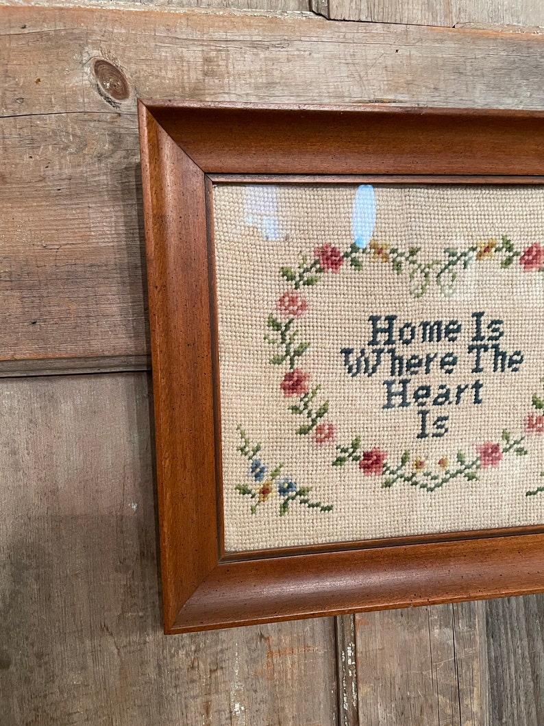 Vintage Framed Needlepoint Home Is Where The Heart Is Motivational Needlepoint