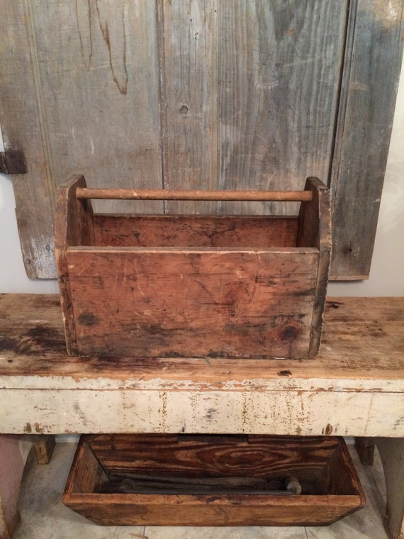 Vintage Wooden Tool Box 1940s Wooden Carpenters Tool Box Handmade Primitive