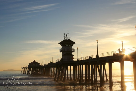 Sunset At The Pier Huntington Beach Photo Surf City Etsy
