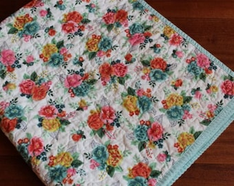 Basic Grey Whole Cloth Baby Girl Quilt