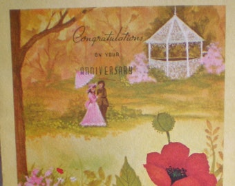 WITH ALL My LOVE On Our Anniversary Hallmark Greeting Card To My Wife from Husband Vtg 80s Paper Ephemera Scrapbook Junk Journal Supply Used