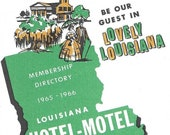 Vintage Mid Century Travel Guide - Louisiana Hotel - Motel Association  Membership Directory
