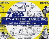 Vintage Mid Century Illustration - Boy 39 s Athletic League -NYC