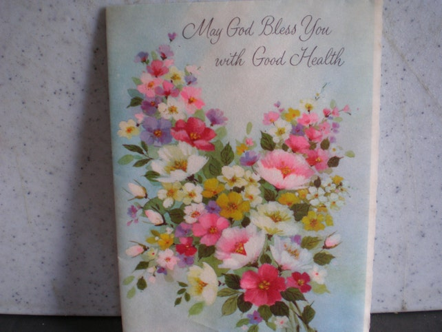 Vintage Mid Century Unused Greeting Card - May God Bless You With Good Health