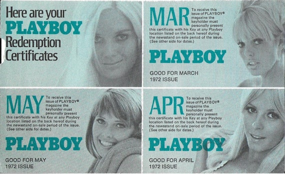 Vintage 1970 S Playboy Redemption Certificates Free 1972 Etsy