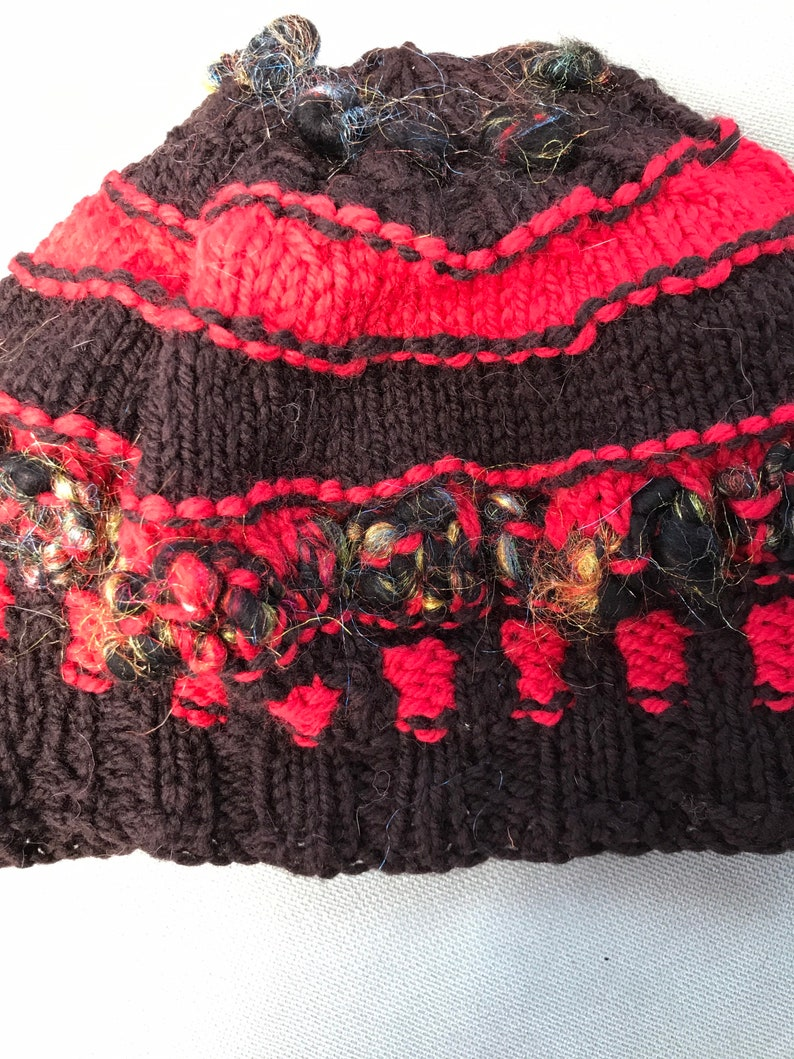 Red and black wool hat
