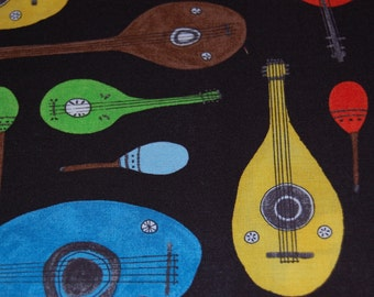 Cloud 9 Minstrels from The Land That Never Was by Lisa Congdon Organic Cotton Fabric Quilting Low Impact Dyes Mandolin