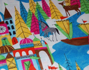 The Land That Never Was by Lisa Congdon for Cloud 9 Fabrics Organic Cotton Fabric Quilting Low Impact Dyes Castle Kingdom Ship Horse