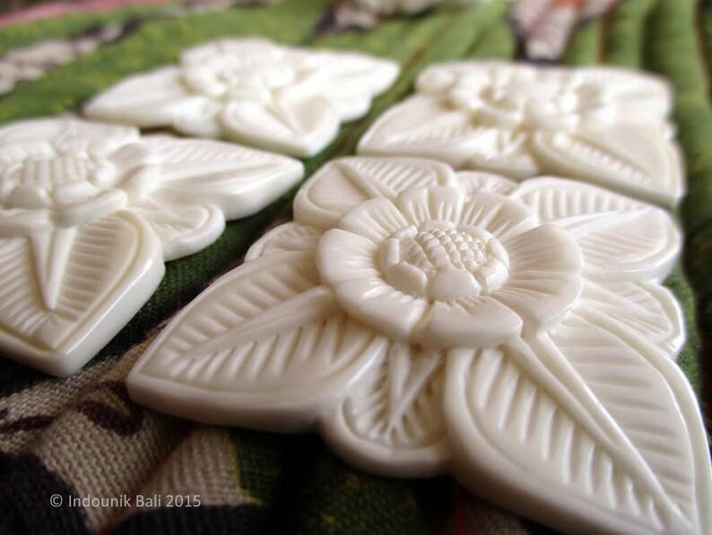 Abadi Balinese Architectural Flower Large Carved Bone Cabochon 40mm