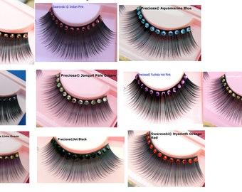 57c1f4eec1b Ultra Sparkly Exclusive False Eyelashes with Blue, Gold, Orange, Green,  Pink Preciosa & Swarovski Crystal Diamante