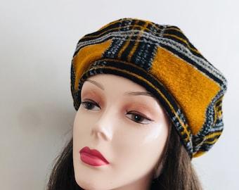 Made In Scotland Red Plaid Hat Vintage Tartan Striped Royal Stewart Scottish Wool Tam Beret