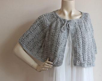 f9242268b Grey Bridal Cape   Wedding Wrap Shrug Bolero Hand Knit Mohair Cape-Heather  Gray Cape