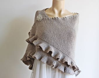 Stone Bridal Shawl with Pin/Winter Wedding,Bridal Cover Up,Wedding Shawl-Knit Triangle Shawl- Winter Shawl-Everyday Shawl