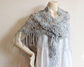 Gray Bridal Shawl/ Wedding Wrap Shrug Bolero/Hand Crochet  Shawl/ Scarf