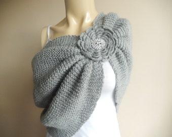 Gray Bridal Capelet / Wedding Wrap Shrug Bolero/Hand Knit  Shawl/ Scarf with Rhinestone