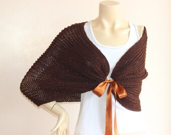 Dark Brown Capelet / Wedding Wrap Shrug Bolero/Hand Knit Acrylic scarf with pin-vegan scarf-Copper Metallic Cape-Ready to Ship
