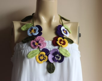 Pansy Crochet Necklace -Purple,blue,Pink,Yellow Pansies Necklace