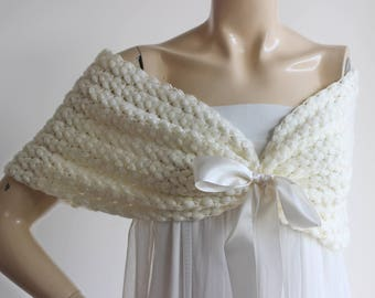 Cream Bridal Cape/ Wedding Wrap Shrug Bolero/Hand Crochet Glitter Shoulder Cover-Vegan Cape
